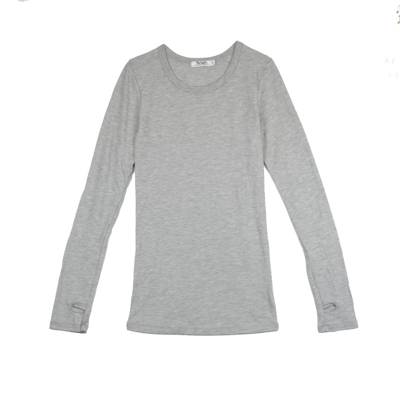 GREY HEATHER THERMAL MODAL LYCRA LONG SLEEVE CREW WITH THUMBHOLE