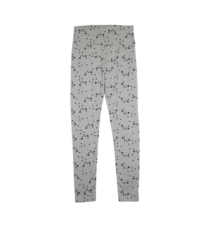 GREY HEATHER ATHLETIC LONG LEGGINGS WITH SMALL BLACK STARS PRINT
