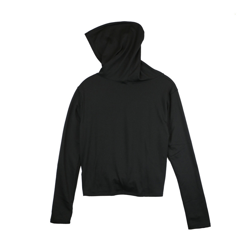 BLACK LONG SLEEVE KNOT FRONT HOODIE WITH THUMBHOLE - (BACK VIEW - HOODIE UP)