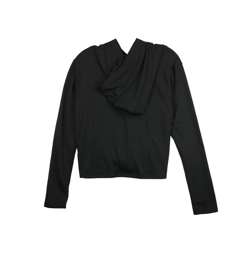 BLACK LONG SLEEVE KNOT FRONT HOODIE WITH THUMBHOLE - (BACK VIEW - HOODIE DOWN)