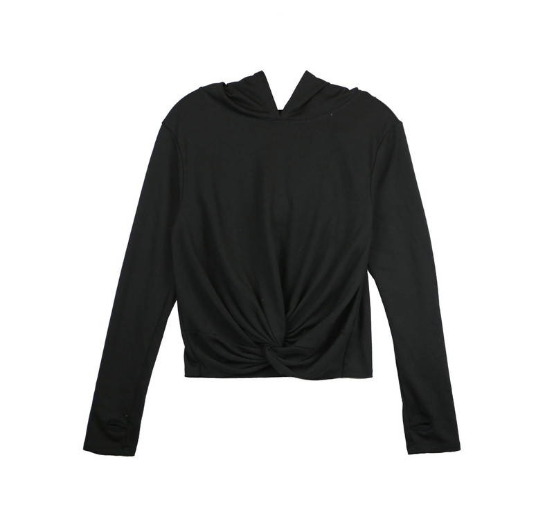 BLACK LONG SLEEVE KNOT FRONT HOODIE WITH THUMBHOLE