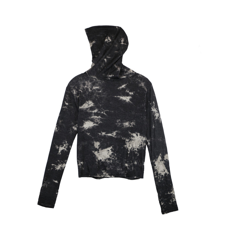 BLACK AND GREY TIE DYE LONG SLEEVE KNOT FRONT HOODIE WITH THUMB HOLE (HOODIE UP -BACK VIEW)
