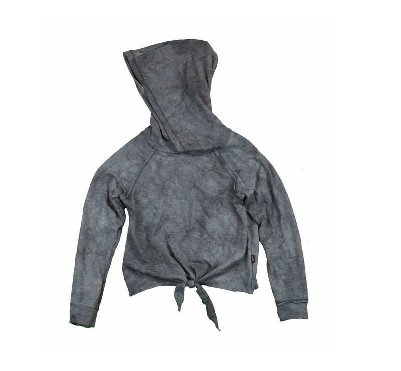 CHARCOAL LONG SLEEVE TIE FRONT HOODED PULLOVER