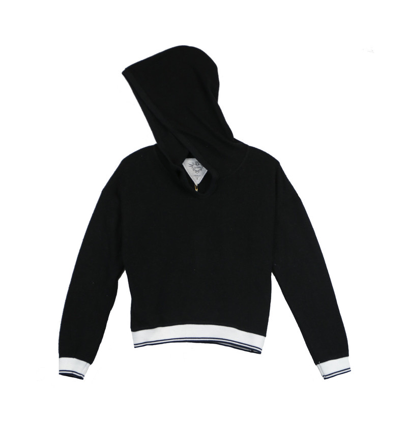 BLACK LONG SLEEVE HOODED TOP WITH STRIPE RIBS
