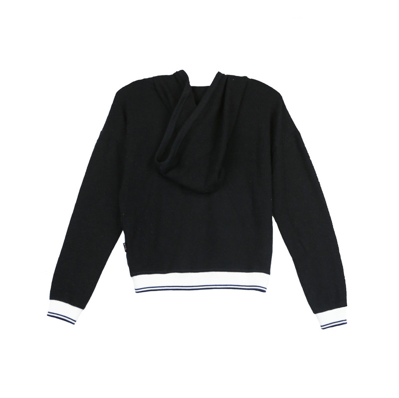 BLACK LONG SLEEVE HOODED TOP WITH STRIPE RIBS-BACKVIEW