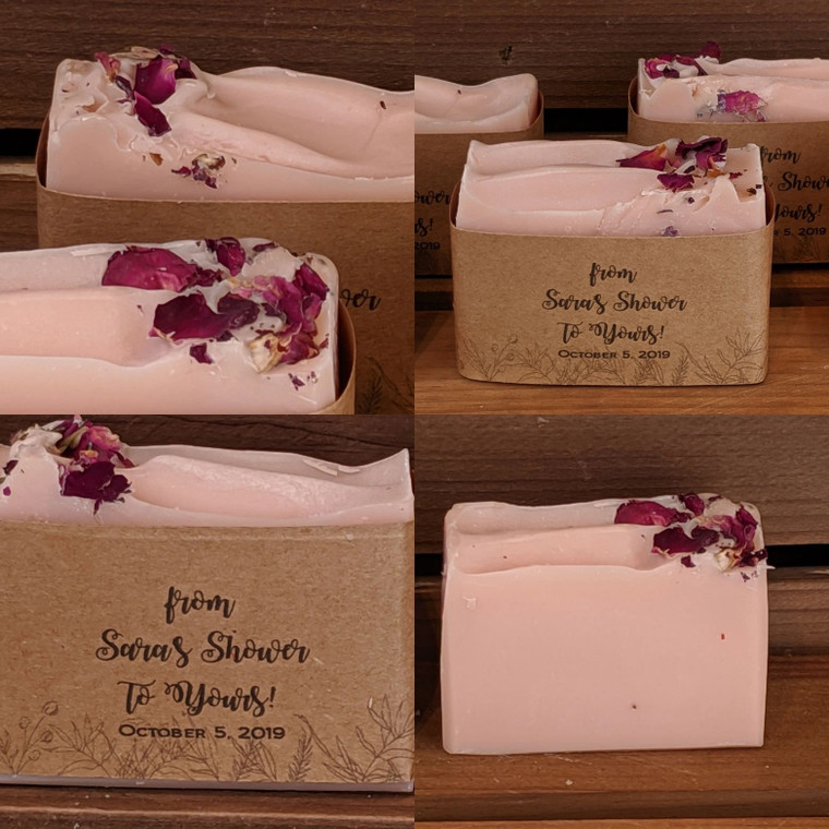 Natural Bulk Soaps for weddings, baby showers & special events by Olive and Dewdrop.  Customize the soap bar and soap band and create the perfect party favor and thank you gift that reflects your personality and style.