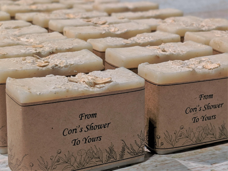 Natural Bulk Soaps for weddings, baby showers & special events by Olive and Dewdrop.  Customize the soap bar and soap band and create the perfect party favor and thank you