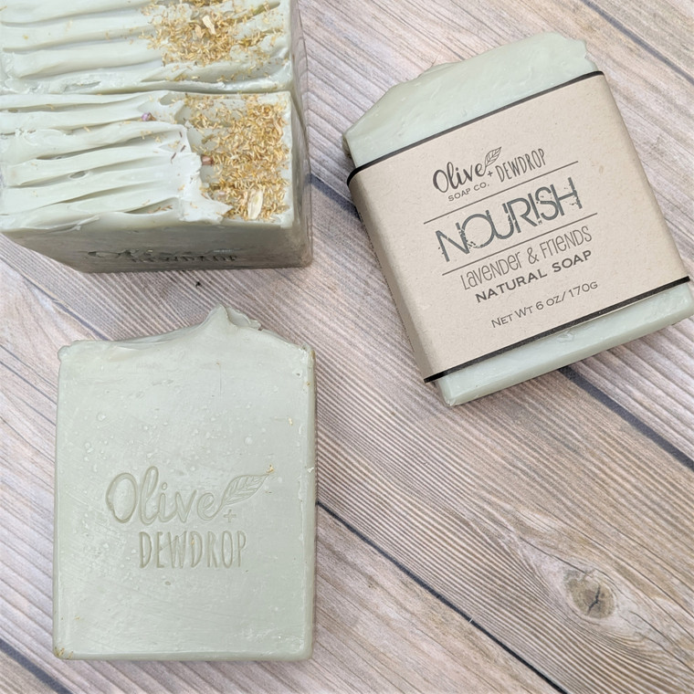 NOURISH  - a gentle soap scented with lavender, ylang ylang, bergamot & roman chamomile essential oils.