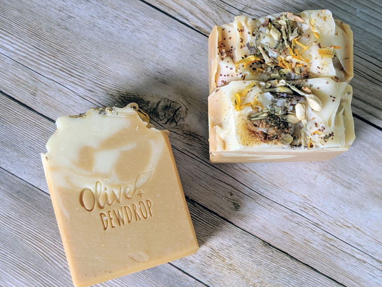 Sweet orange and earthy patchouli mingle together in this year round unisex soap