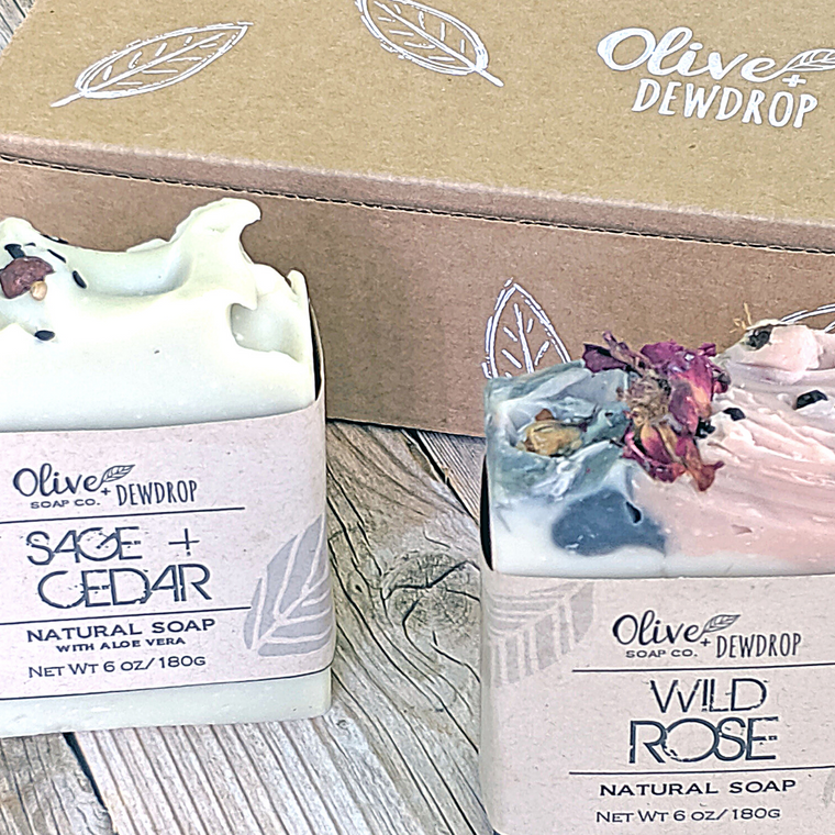 Custom Soap Gift Box - Choose any 2 Soap Bars Gift Set - Olive and Dewdrop Soap