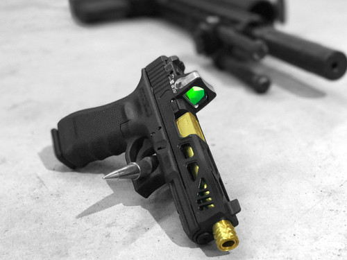 Glock 17 with Sentinel Cut, RMR Optic Cut, Top Chamfer and Front Bull Nose Chamfer. Optic: RM05. Barrel: ZEV Pro 17 Threaded (TiN Coated).