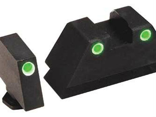 AmeriGlo Suppressor Height Sights (3-Dot - White Outline Tritium Front/White Outline Tritium Rear) - GL-329
