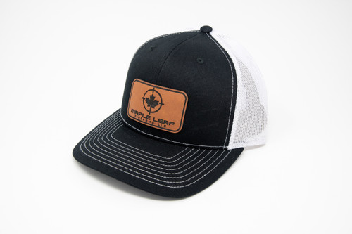 Maple Leaf Hat - Leather Patch (Black/White)