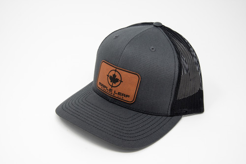 Maple Leaf Hat - Leather Patch (Charcoal Grey/Black)