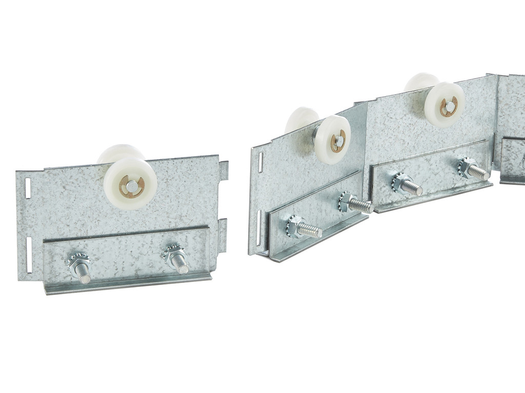 Strips attach to slider modules to allow easy movement inside the slide track.