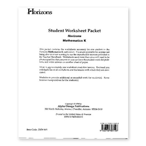 HORIZONS Kindergarten Student Worksheet Packet