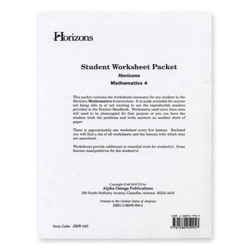 HORIZONS 4th Grade Math Student Worksheet Packet