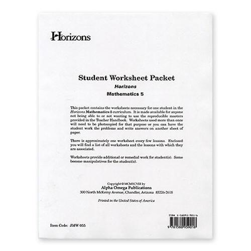HORIZONS 5th Grade Math Student Worksheet Packet