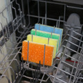 Sponge Daddy can be cleaned on the top rack of the dishwasher