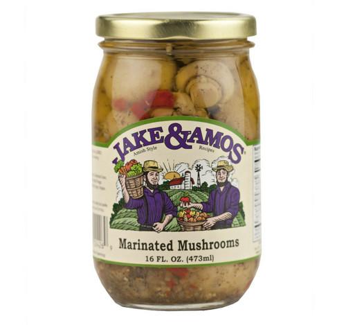 Jake & Amos Marinated Mushrooms, 16 Oz. Jar (Pack of 2)