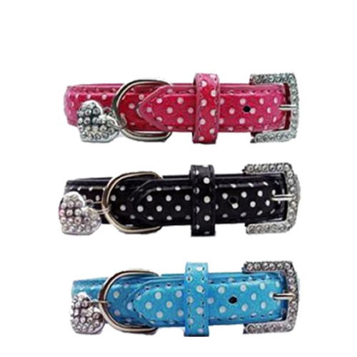 Dotty Collar with Crystal buckle & Heart Charm