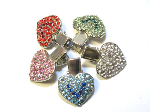 Crystal Heart Hair Clips