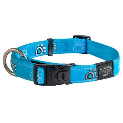 Rogz Fancy Dress Collar Purple Turquoise Paws