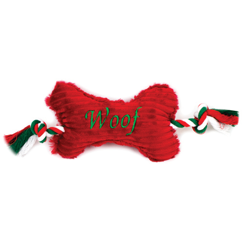 "Christmas ""Woof"" Bone with Rope"