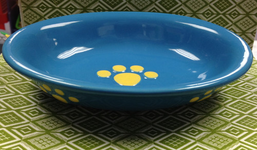 Blue & Yellow Ceramic Oval Bowl