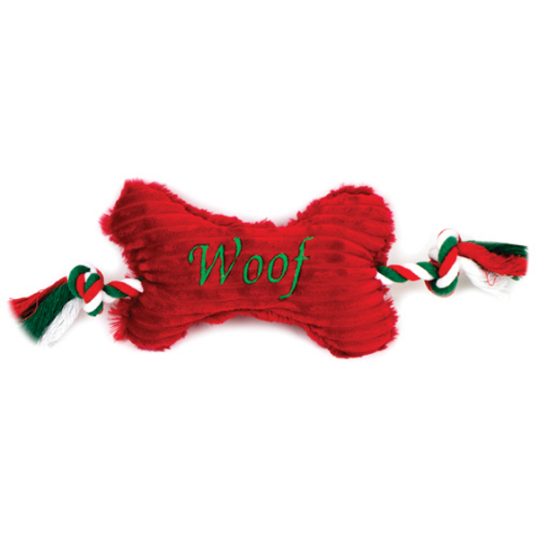 """Christmas """"Woof"""" Bone with Rope"""