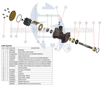 JPR-JD25UH JMP Marine John Deere Raw Water Pump Exploded View Parts Diagram