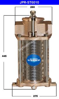 JMP #JPR-ST6010 SEA WATER STRAINER (A) Top Width / Dia = 260mm (B) Height = 445mm (C) Bottom Width / Dia = 275mm