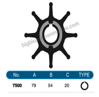 JMP FLEXIBLE IMPELLER #7500-01 (SPECS) (Replaces Doosan 60.06804-0003)