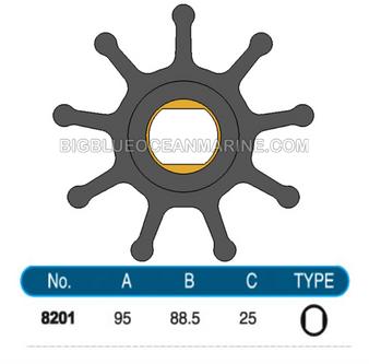 JMP FLEXIBLE IMPELLER #8201-01 (SPECS) (Replaces Doosan 65.06804-0001)