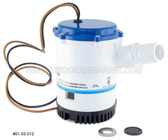 #01-03-012 Albin Pump Marine Submersible Heavy Duty Bilge Pump 1750 GPH 24V Replaces Rule 1500, Johnson 16084-00, 32-1600-02