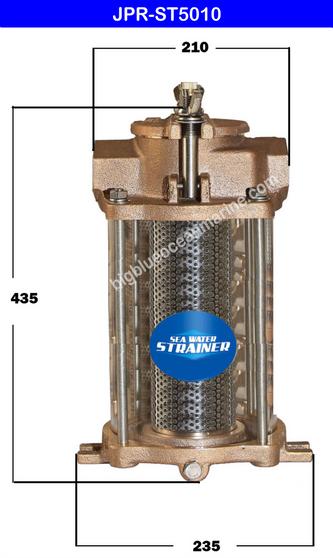 JMP #JPR-ST5010 SEA WATER STRAINER (A) Top Width / Dia = 210mm (B) Height = 435mm (C) Bottom Width / Dia = 235mm