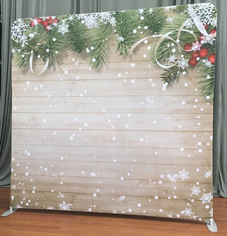 Wooden Snow Backdrop Double Sided