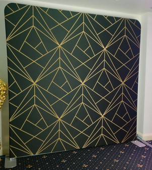 Black Gold Geometric Backdrop Double Sided
