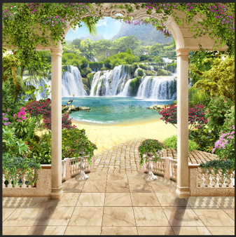 Waterfalls with Arch Background