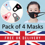 Reusable Children's Face Mask, Washable 4 Pack Black & Blue