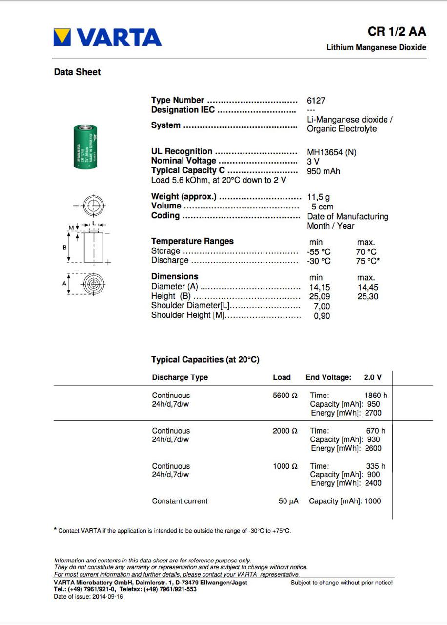 Siemens 575332 Battery Data Sheet