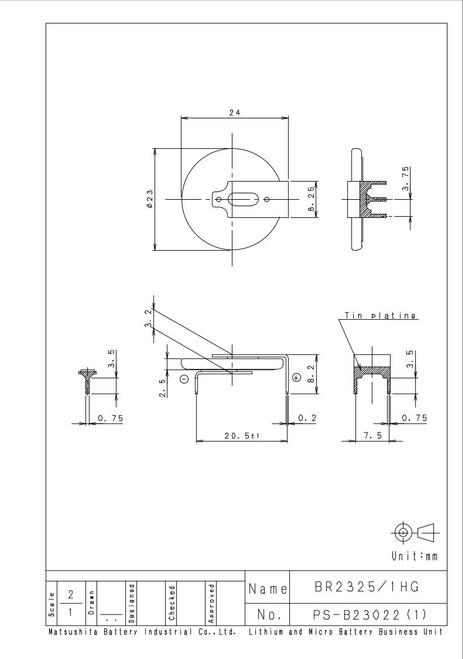 Panasonic BR2325-1HG Battery - 3V Lithium Coin Cell 3 Pins