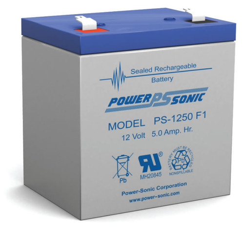 """Power-Sonic PS-1250 F1 Battery - 12 Volt 5 Amp Hour (.187"""")"""
