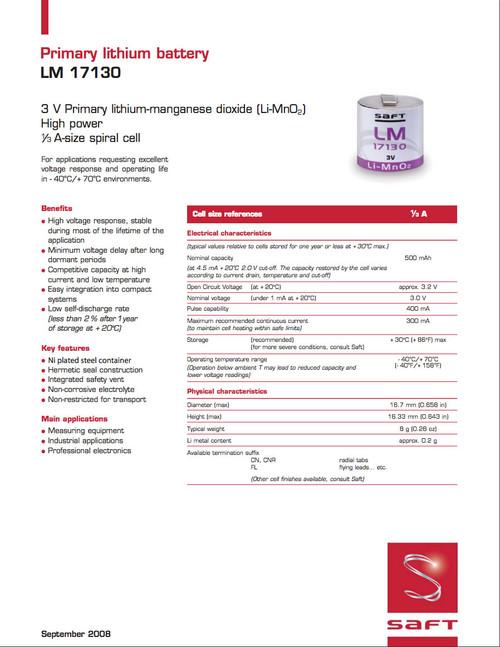 Saft LM17130 Battery - 3V 1/3A Lithium