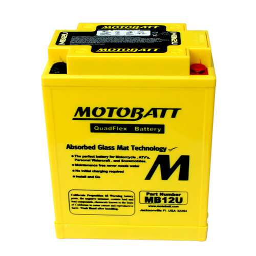 Motobatt MB12U Battery - AGM Sealed for Motorcycle - Powersport