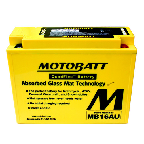 Motobatt MB16AU Battery - AGM Sealed for Motorcycle - Powersport