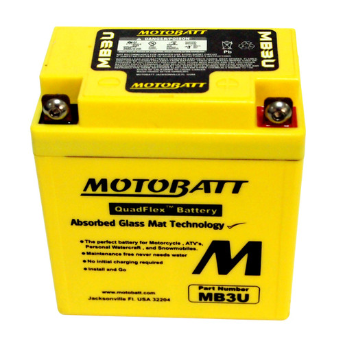Motobatt MB3U Battery - AGM Sealed for Motorcycle - Powersport