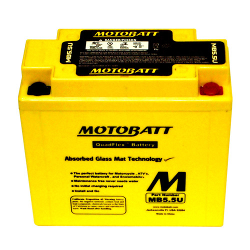 Motobatt MB5.5U Battery - AGM Sealed for Motorcycle - Powersport