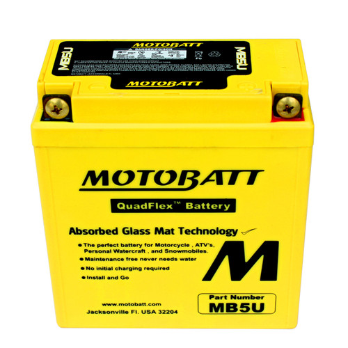 Motobatt MB5U Battery - AGM Sealed for Motorcycle - Powersport