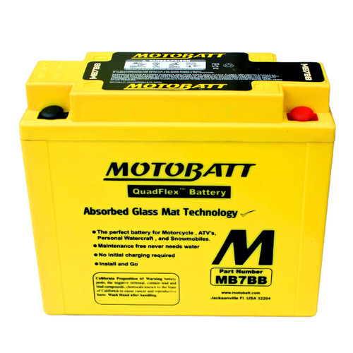 Motobatt MB7BB Battery - AGM Sealed for Motorcycle - Powersport